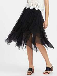 Layered Handkerchief Hem Skirt