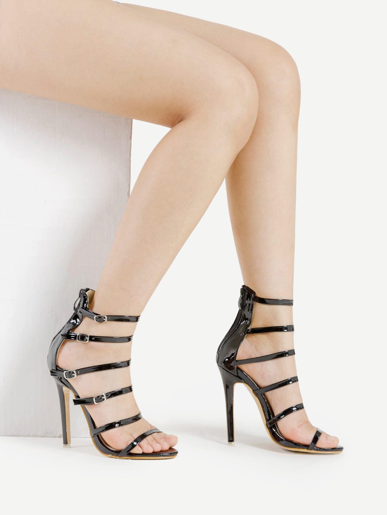 Фото Buckle Decorated Strappy Heeled Sandals. Купить с доставкой