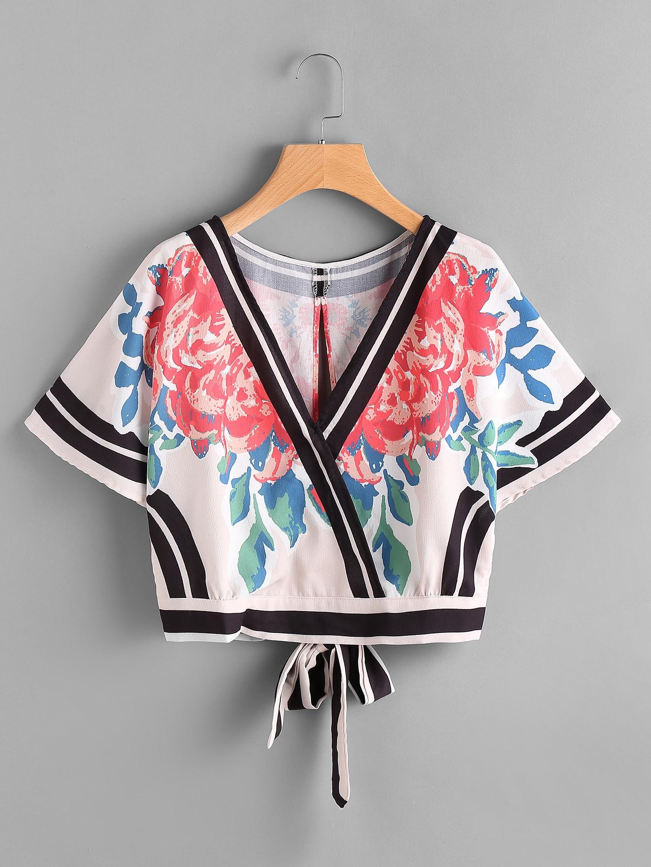 Фото Tie Open Back Striped Trim And Flower Print Top. Купить с доставкой
