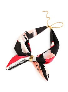 Abstract Print Neckerchief With Chain