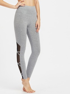 Crisscross Mesh Panel  Marled Knit Leggings