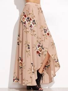 Floral Print Asymmetric Wrap Maxi Skirt