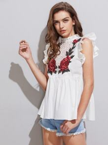 3D Embroidery Applique Frilled Smock Top