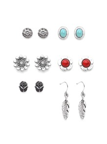Flower And Gemstone Design Earring Set
