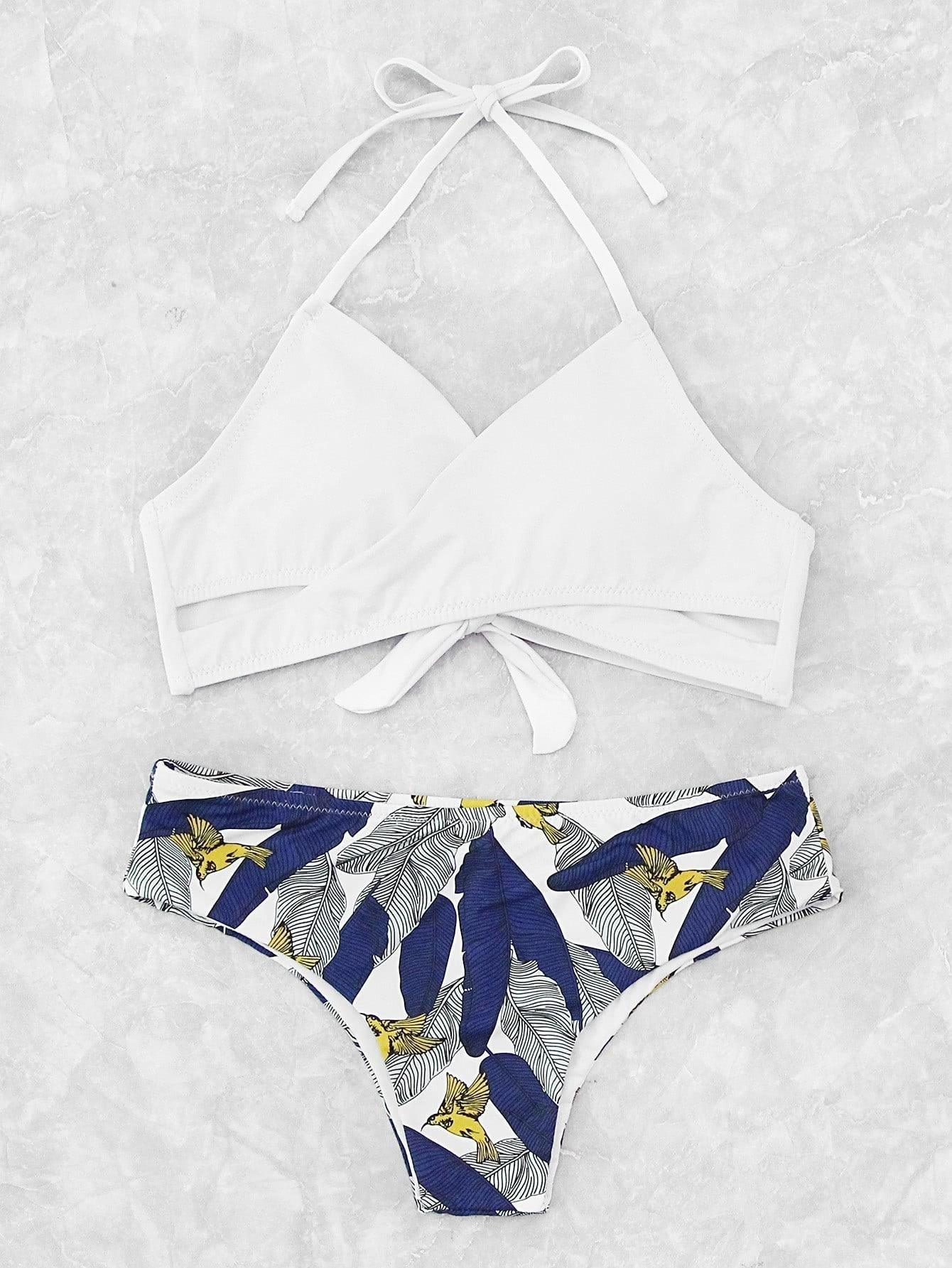 Фото Palm Print Wrap Tie Back Bikini Set. Купить с доставкой