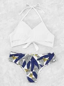 Ensemble de bikini imprimé des palmes avec lacet