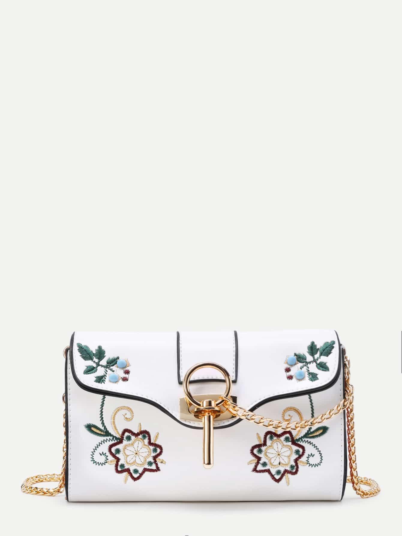Фото Calico Embroidery PU Crossbody Bag. Купить с доставкой