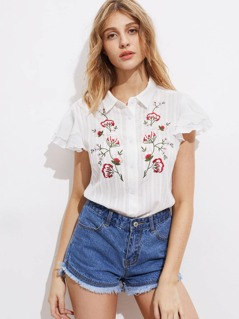 Symmetric Flower Embroidered Layered Flutter Sleeve Blouse