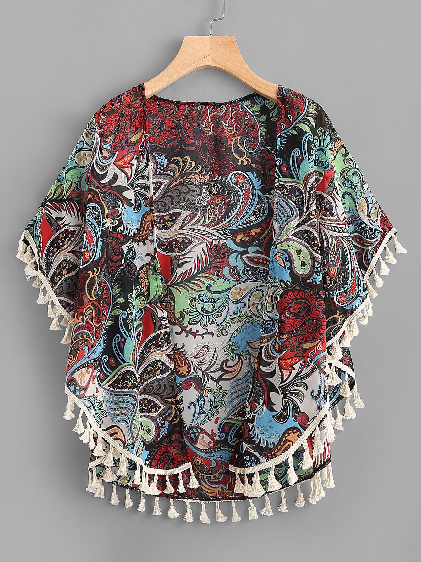 All Over Printed Tassel Hem Chiffon Kimono all over feather print dip hem chiffon top