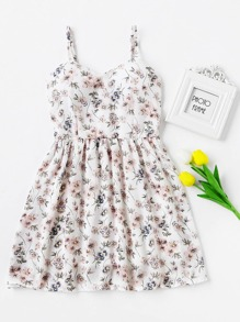 Ditsy Print Shirred Back Cami Dress