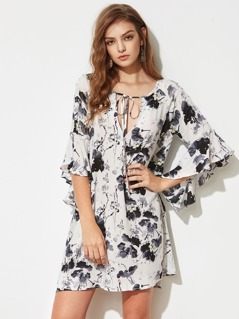 Plunging Tie Neck Trumpet Sleeve Ink Painting Dress