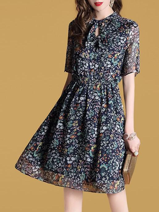 Фото Bowknot Neck Elastic-Waist Hollow Floral Dress. Купить с доставкой