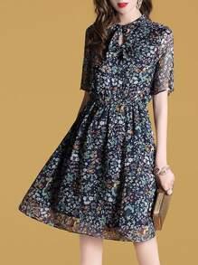 Bowknot Neck Elastic-Waist Hollow Floral Dress