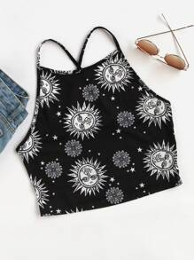 Allover Sun Print Crisscross Cami Top