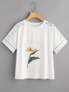 Lace Shoulder Flower Embroidered T-shirt