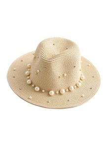 Cappello di paglia con perle sintetiche