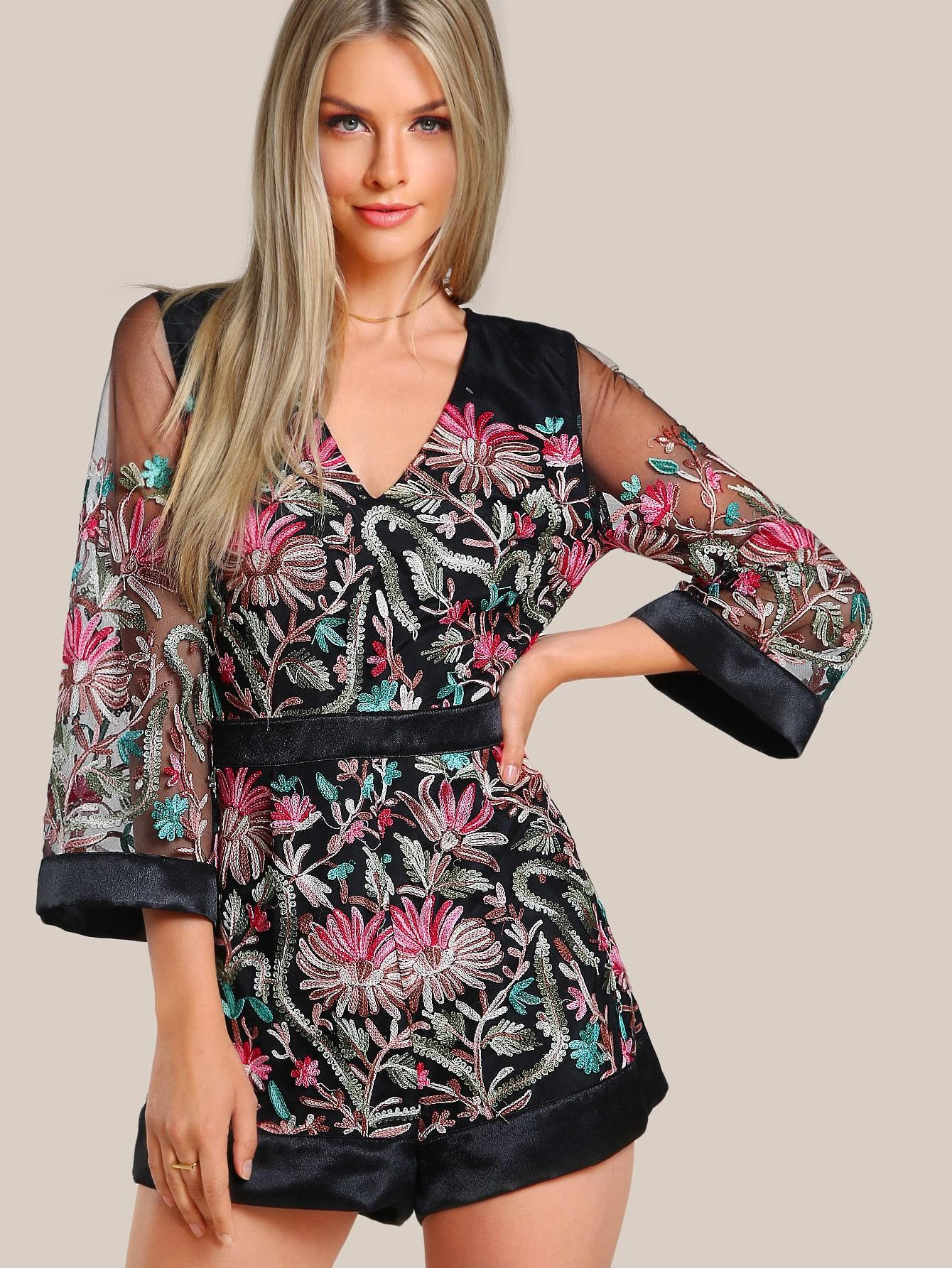 Фото Floral Embroidered Split Back Sheer Romper. Купить с доставкой