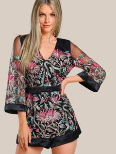 Floral Embroidered Split Back Sheer Romper