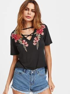 Crisscross V Neck Rose Patch Tee