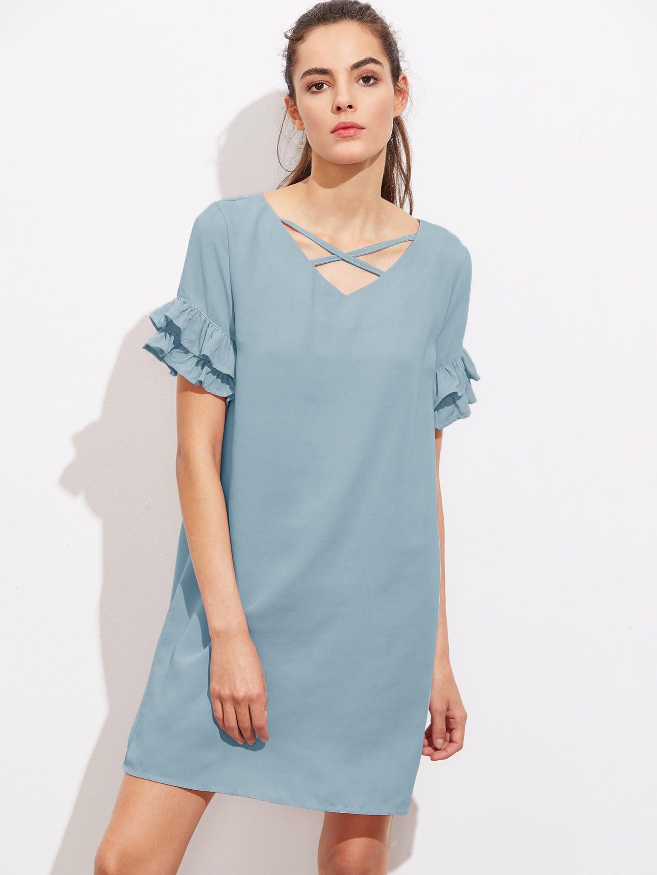 Фото Crisscross Neck Layered Frill Sleeve Dress. Купить с доставкой