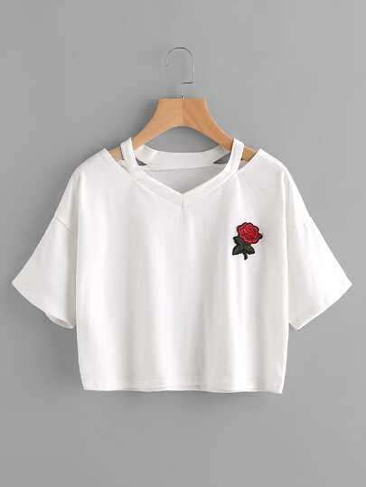 Cut out neck rose embroidered patch tee shein sheinside
