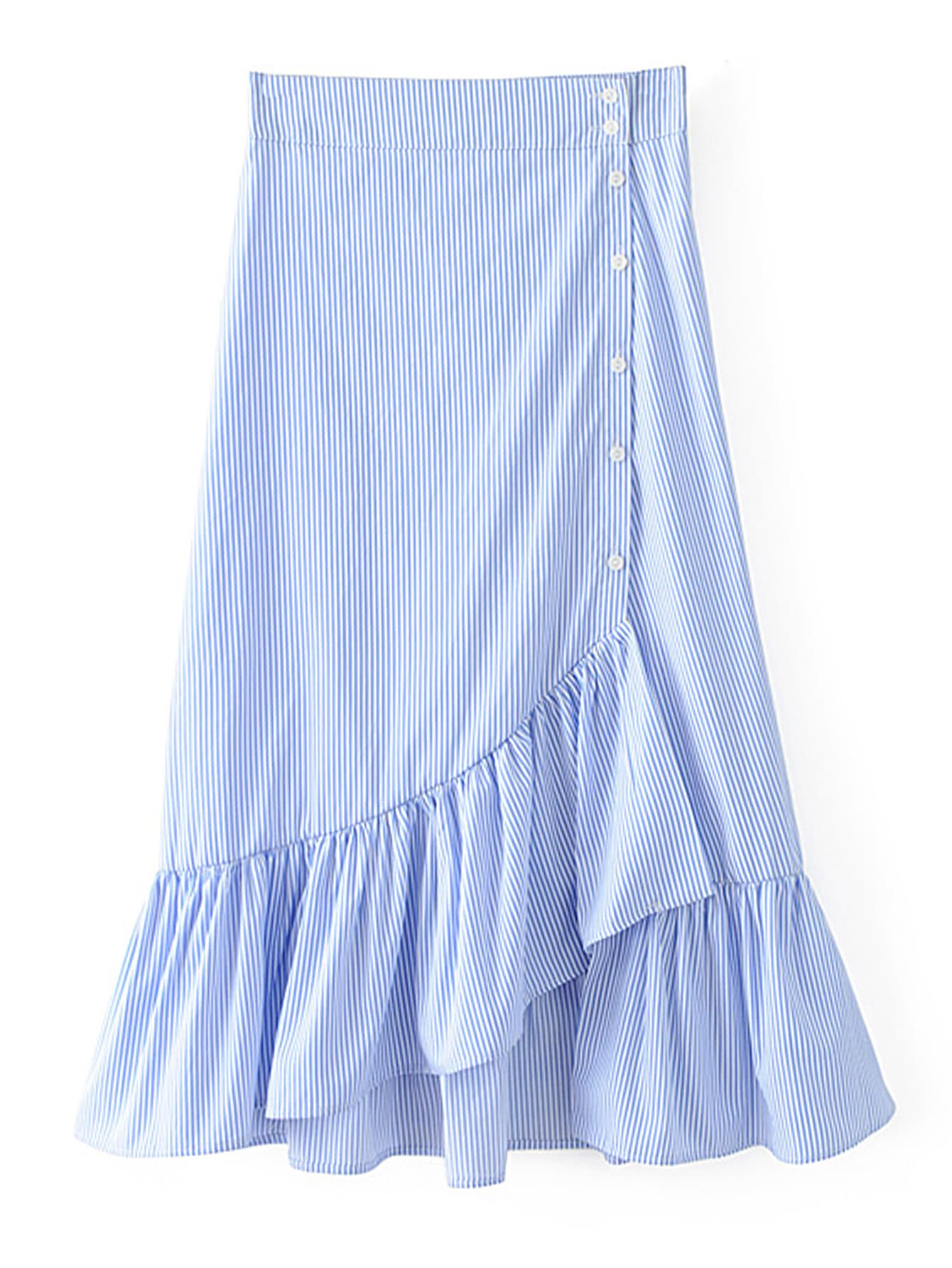 Фото Pinstripe Ruffle Tiered Skirt. Купить с доставкой