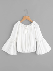 Contrast Lace Tie Front Bell Sleeve Top