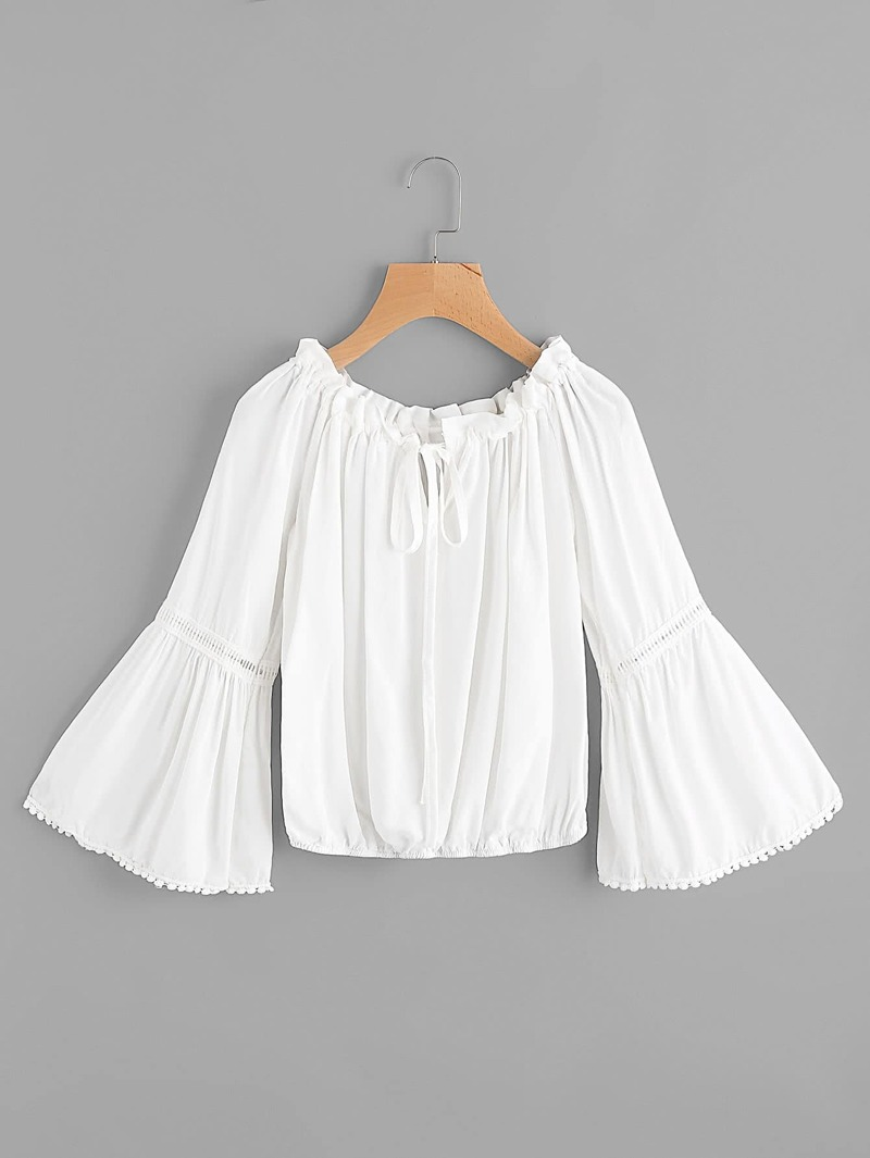 Contrast Lace Tie Front Bell Sleeve Top, White