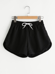 Shorts mit Gummiband Taille und geschwungenem Saum