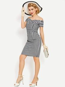 Checkered Bardot Ruched Sleeve Slim Dress