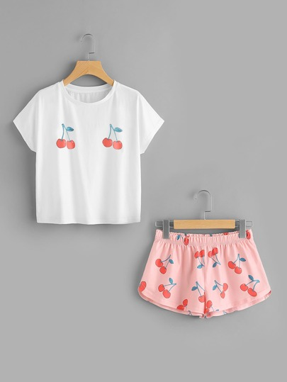 Cherry Print Tee And Shorts Set