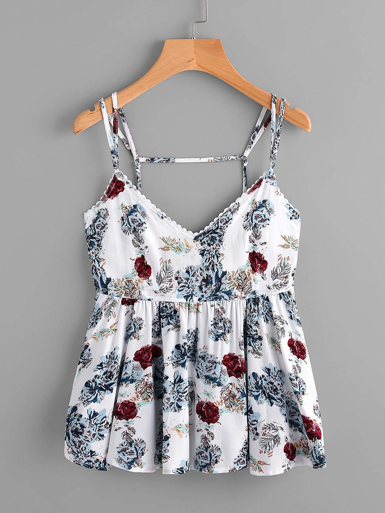 Фото Random Florals Open Back Peplum Cami Top. Купить с доставкой