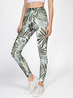 Leaf Print Wide Waistband Leggings