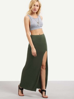 High Slit Jersey Skirt