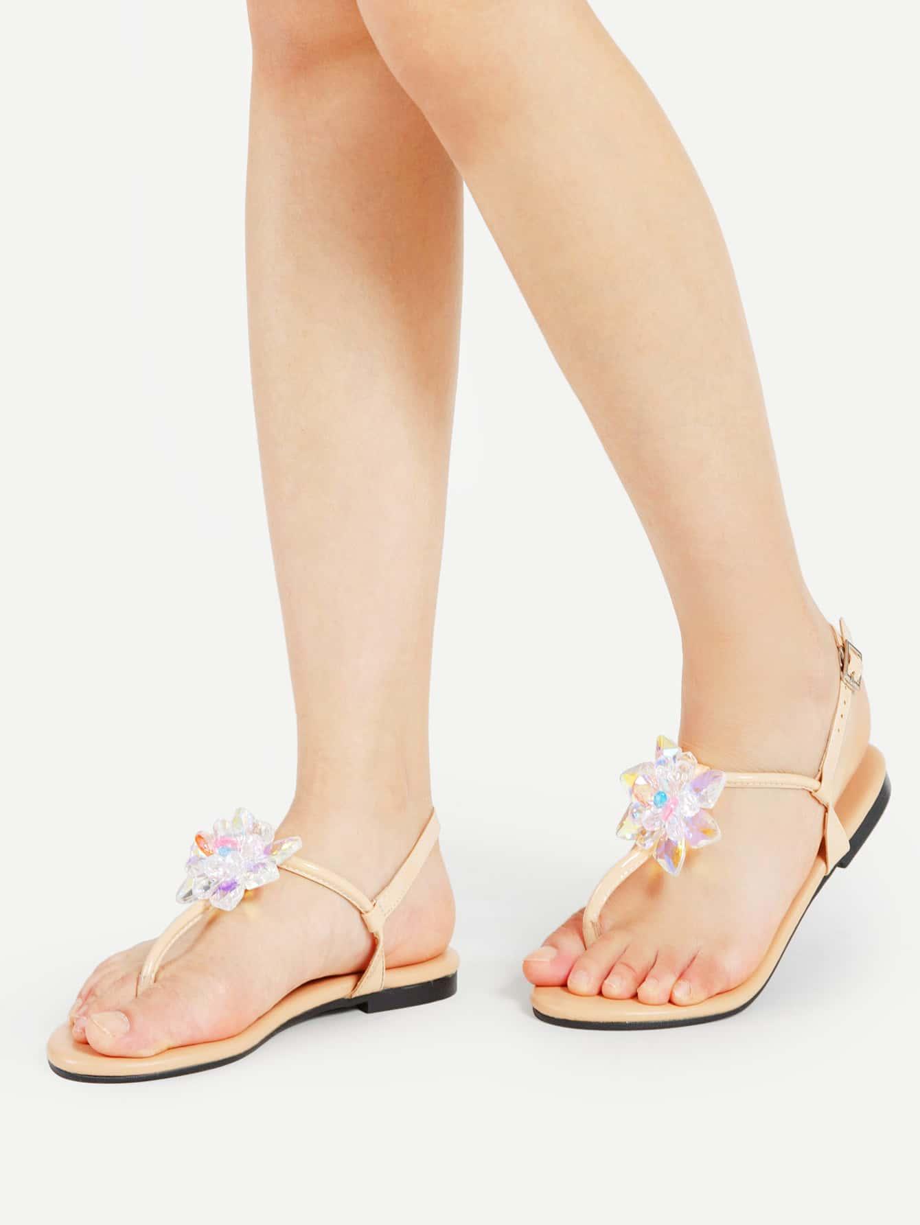 Фото Crystal Flower Toe Post PU Flat Sandals. Купить с доставкой