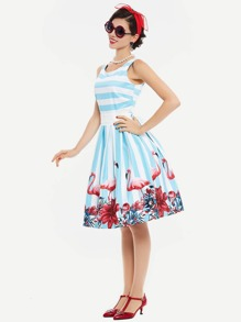 Contrast Striped Flamingo Print Belted Fit & Flare Dress