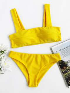 Wide Strap Top With High Leg Bikini Set