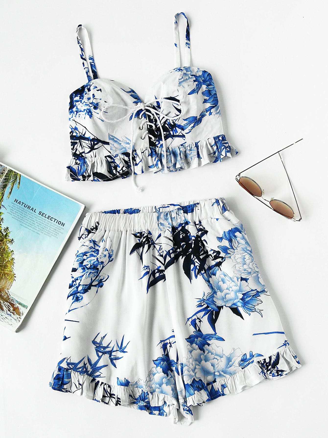 Фото Lace Up Shirred Back Frill Hem Cami Top With Shorts. Купить с доставкой
