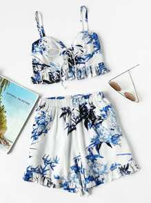 Lace Up Shirred Back Frill Hem Cami Top With Shorts