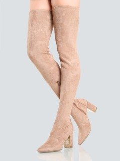 Gold Outline Chunky Heeled Thigh Highs CAMEL