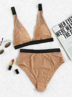 Contrast Binding Mesh Insert High Rise Bikini Set