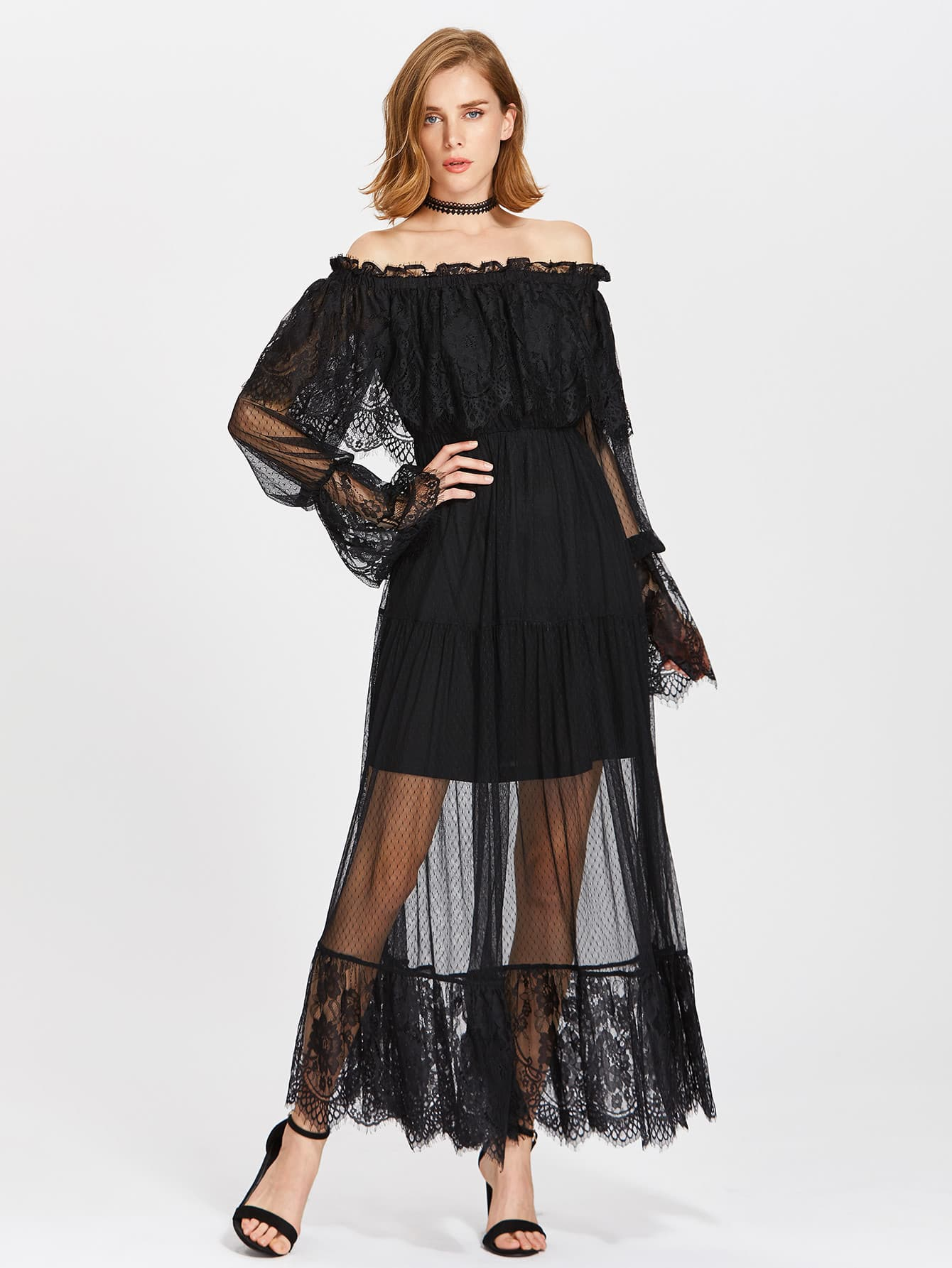 Frill Off Shoulder Lace Overlay Tiered Dress dress170627709