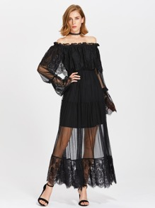 Frill Off Shoulder Lace Overlay Tiered Dress
