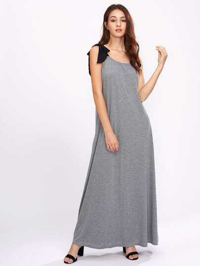 Contrast Tie-Strap Marled Dress