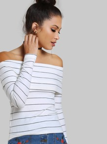 Foldover Off The Shoulder Slim Fit T-shirt