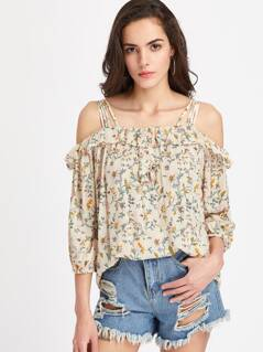 Frill Detail Crisscross Strappy Botanical Top