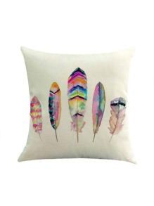 Mixed Feather Print Pillowcase Cover