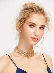 Rhinestone Embellished Layered Chain Choker