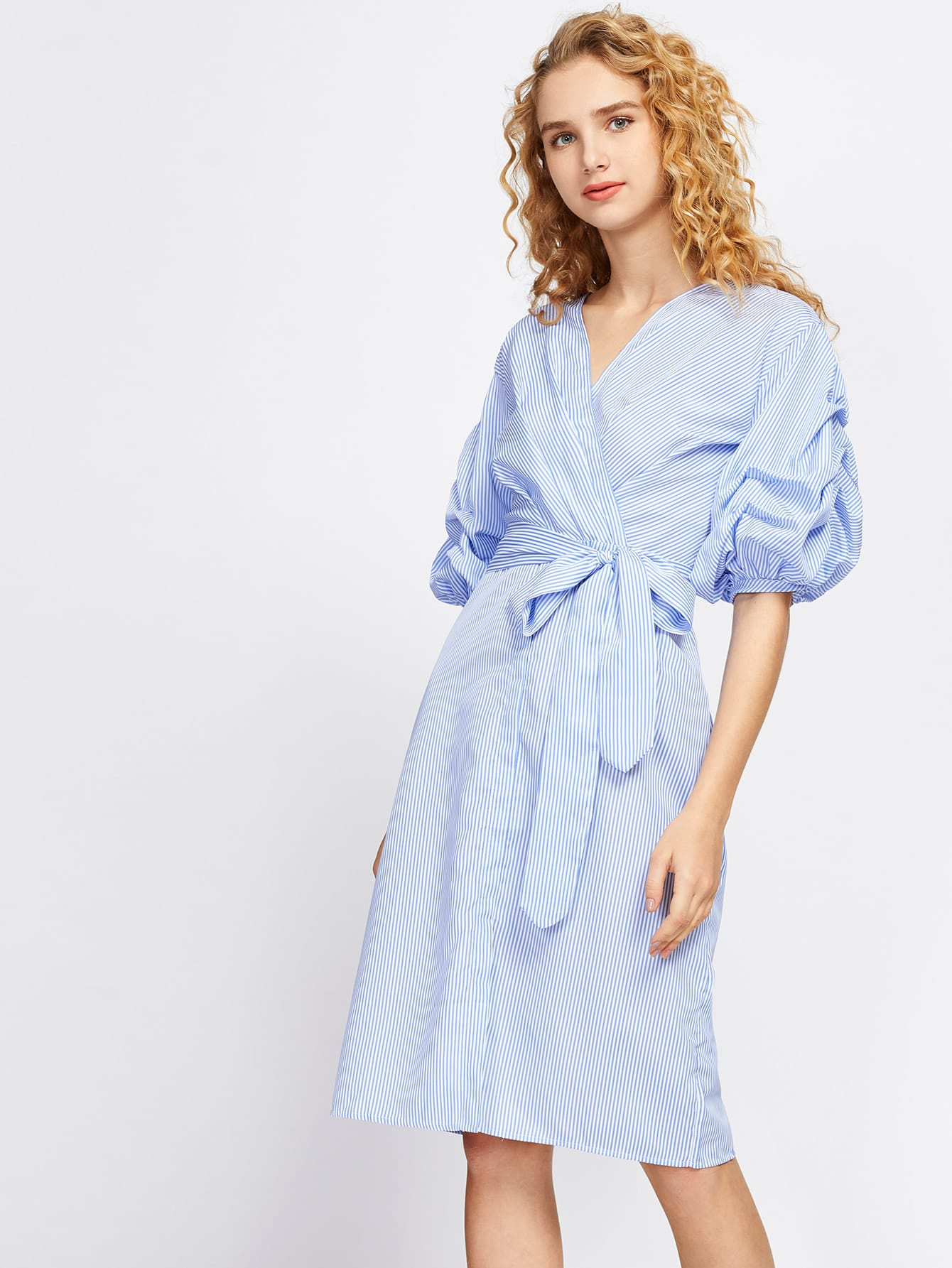Vertical Striped Ruched Sleeve Surplice Dress dress170629104