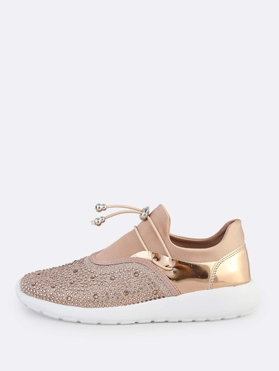 Embellished Drawcord Sneakers ROSE GOLD